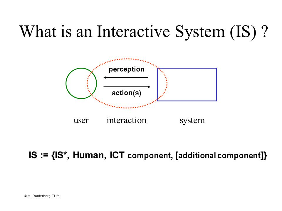 © M. Rauterberg, TU/e What is an Interactive System (IS) ? userinteractionsystem perception action(s) IS := {IS*, Human, ICT component, [ additional c