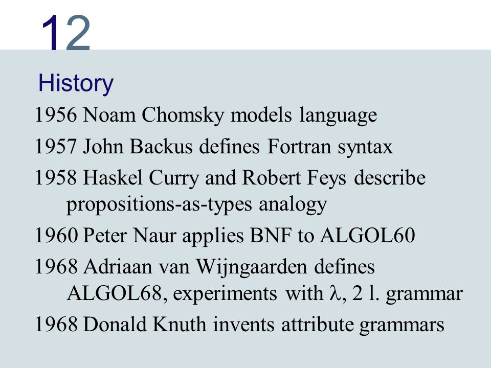 1212 History 1956 Noam Chomsky models language 1957 John Backus defines Fortran syntax 1958 Haskel Curry and Robert Feys describe propositions-as-type