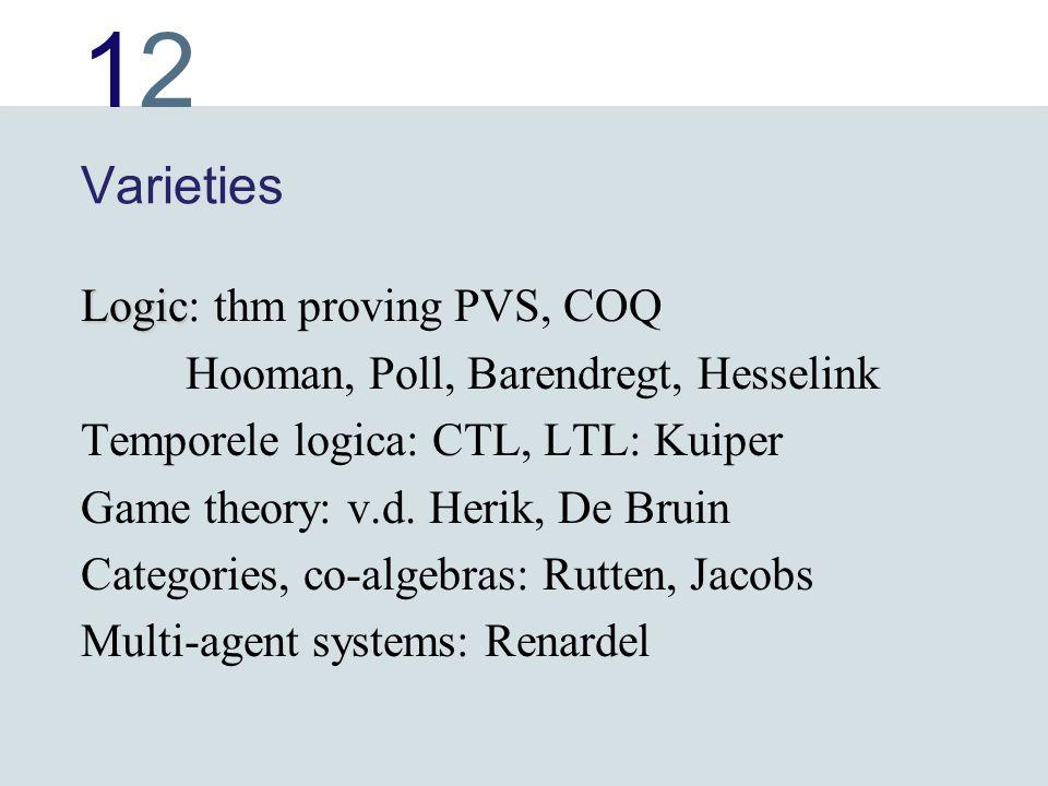 1212 Varieties Logic Logic: thm proving PVS, COQ Hooman, Poll, Barendregt, Hesselink Temporele logica: CTL, LTL: Kuiper Game theory: v.d. Herik, De Br