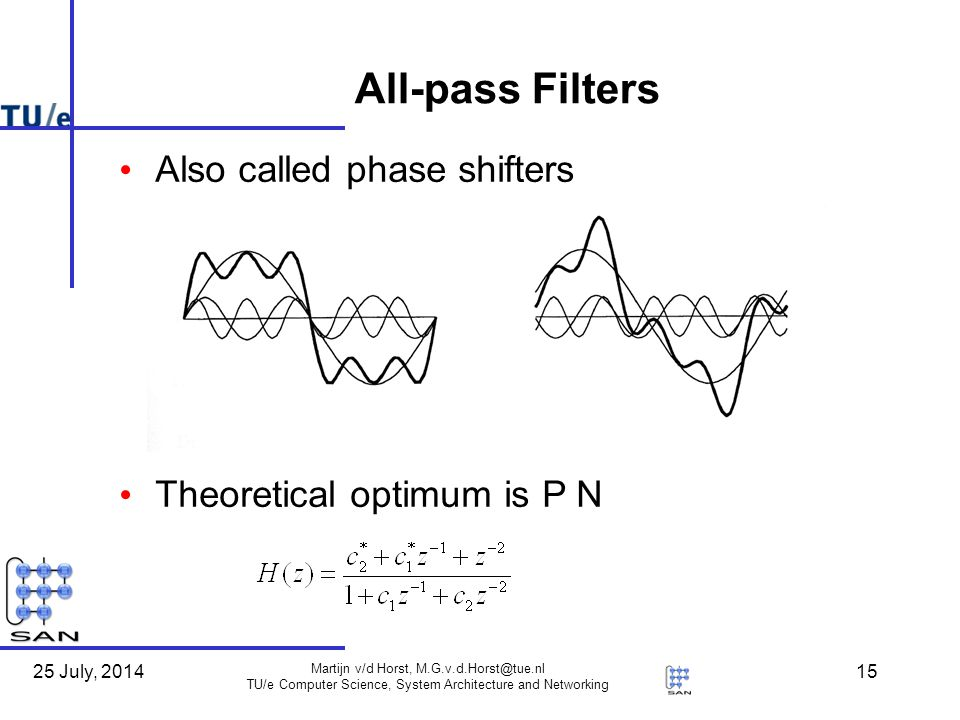 25 July, 2014 Martijn v/d Horst, TU/e Computer Science, System Architecture and Networking 15 All-pass Filters Also called phase shifters Theoretical optimum is P N