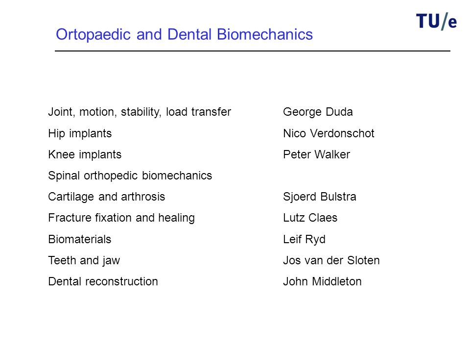 Ortopaedic and Dental Biomechanics Joint, motion, stability, load transferGeorge Duda Hip implantsNico Verdonschot Knee implantsPeter Walker Spinal orthopedic biomechanics Cartilage and arthrosisSjoerd Bulstra Fracture fixation and healingLutz Claes BiomaterialsLeif Ryd Teeth and jawJos van der Sloten Dental reconstructionJohn Middleton