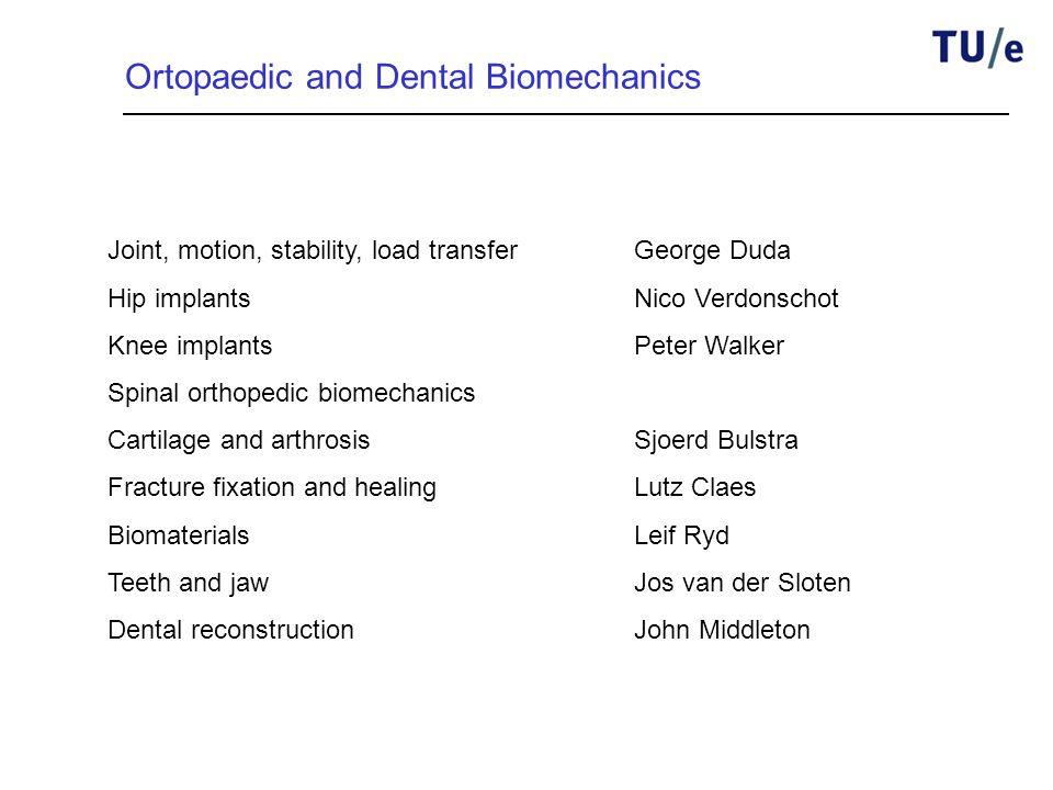 Ortopaedic and Dental Biomechanics Joint, motion, stability, load transferGeorge Duda Hip implantsNico Verdonschot Knee implantsPeter Walker Spinal or