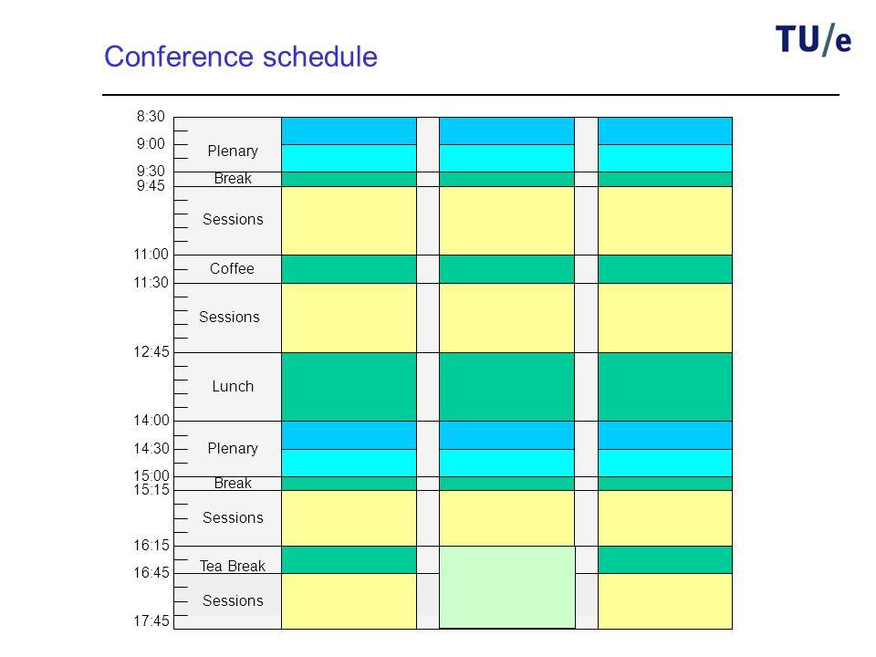 8:30 9:00 9:30 9:45 11:00 11:30 12:45 14:00 14:30 15:00 15:15 16:15 16:45 17:45 Plenary Coffee Sessions Break Lunch Plenary Break Tea Break Conference