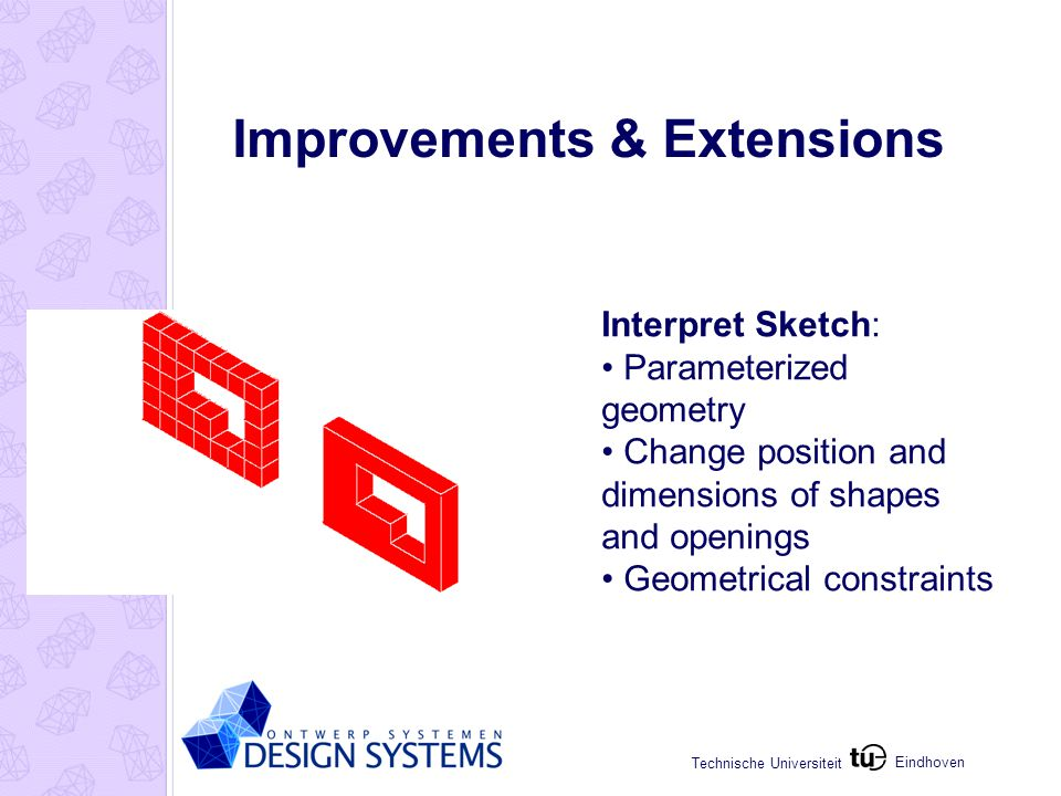 Eindhoven Technische Universiteit Improvements & Extensions Interpret Sketch: Parameterized geometry Change position and dimensions of shapes and open