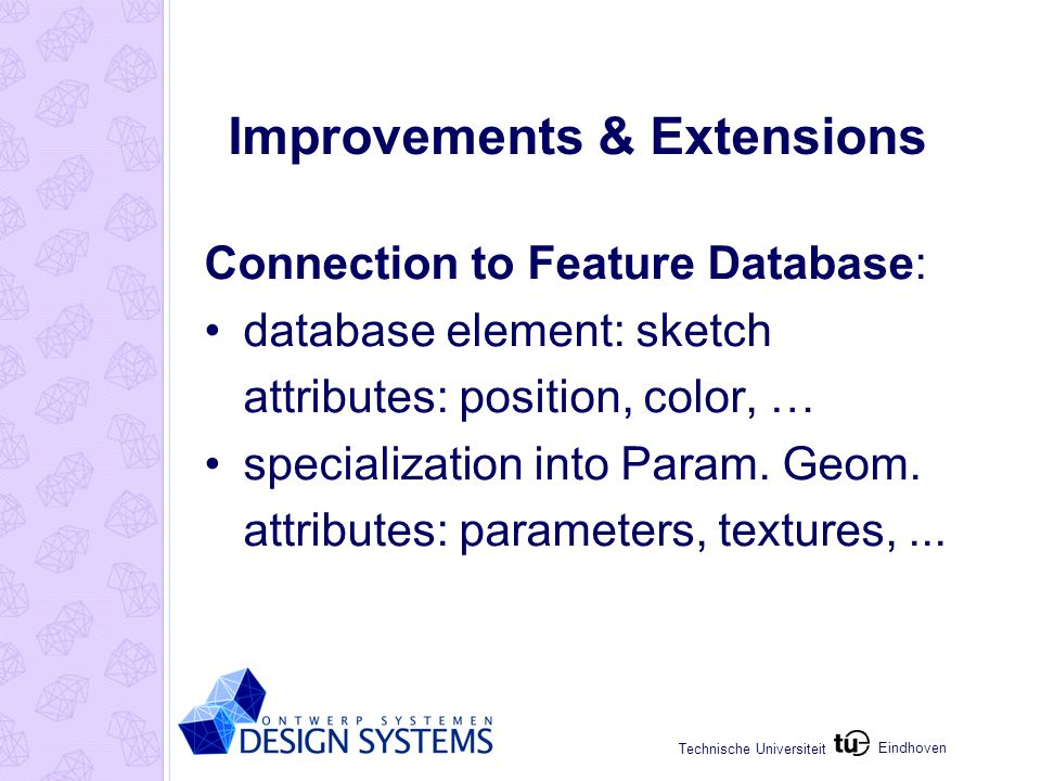 Eindhoven Technische Universiteit Improvements & Extensions Connection to Feature Database: database element: sketch attributes: position, color, … sp