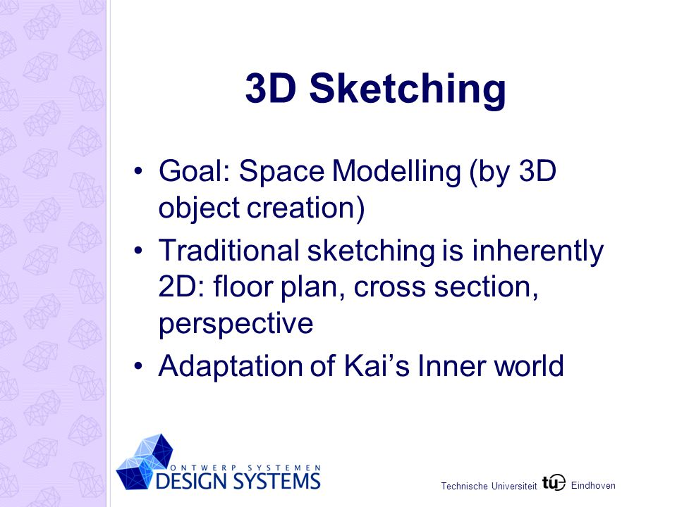 Eindhoven Technische Universiteit Improvements & Extensions Interpret Sketch: Parameterized geometry Change position and dimensions of shapes and openings Geometrical constraints