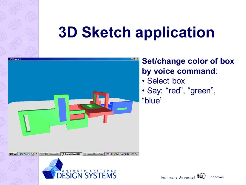 Eindhoven Technische Universiteit 3D Sketch application Creation of curves shapes and spaces: Drag & Copy box along curve -45 < angle < +45 degr.