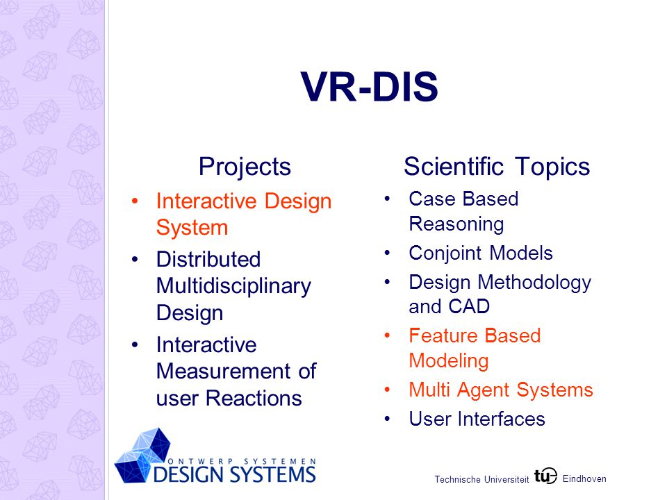 Eindhoven Technische Universiteit VR-DIS Projects Interactive Design System Distributed Multidisciplinary Design Interactive Measurement of user Reactions Scientific Topics Case Based Reasoning Conjoint Models Design Methodology and CAD Feature Based Modeling Multi Agent Systems User Interfaces