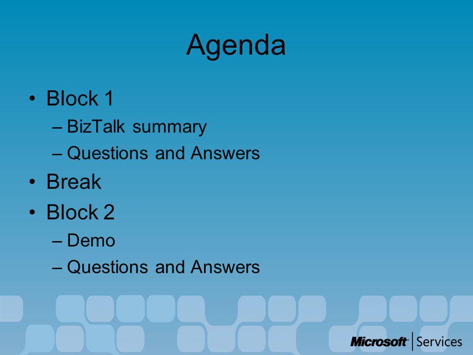 Agenda Block 1 –BizTalk summary –Questions and Answers Break Block 2 –Demo –Questions and Answers