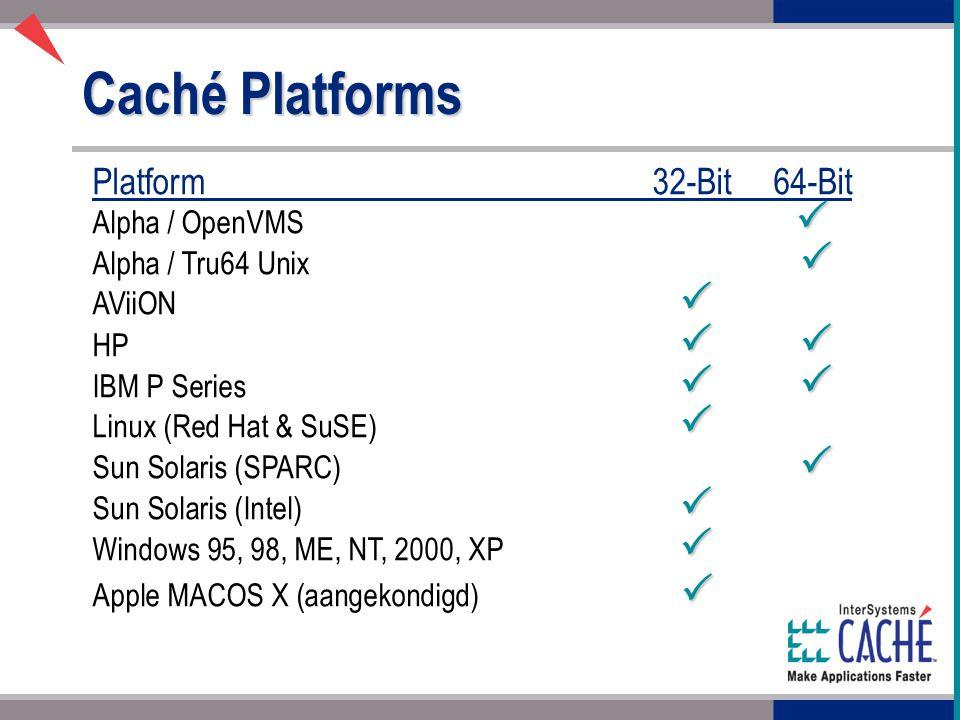 Caché Platforms Platform32-Bit64-Bit  Alpha / OpenVMS   Alpha / Tru64 Unix   AViiON   HP    IBM P Series    Linux (Red Hat & SuSE)   Sun Solaris (SPARC)   Sun Solaris (Intel)   Windows 95, 98, ME, NT, 2000, XP   Apple MACOS X (aangekondigd) 