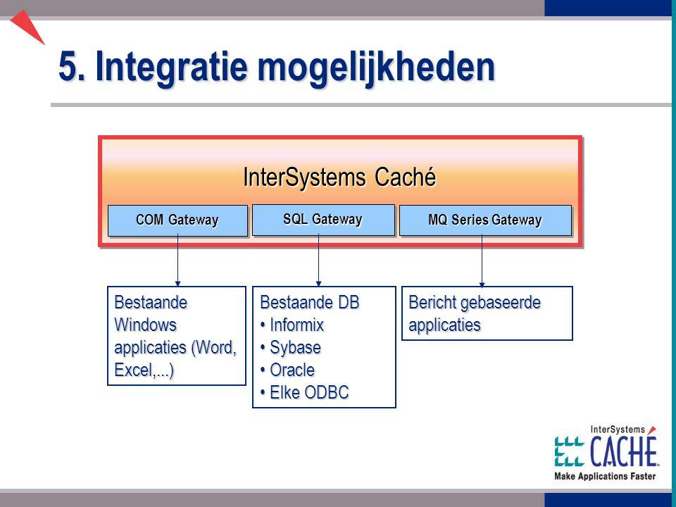 5. Integratie mogelijkheden InterSystems Caché COM Gateway SQL Gateway MQ Series Gateway Bestaande Windows applicaties (Word, Excel,...) Bestaande DB