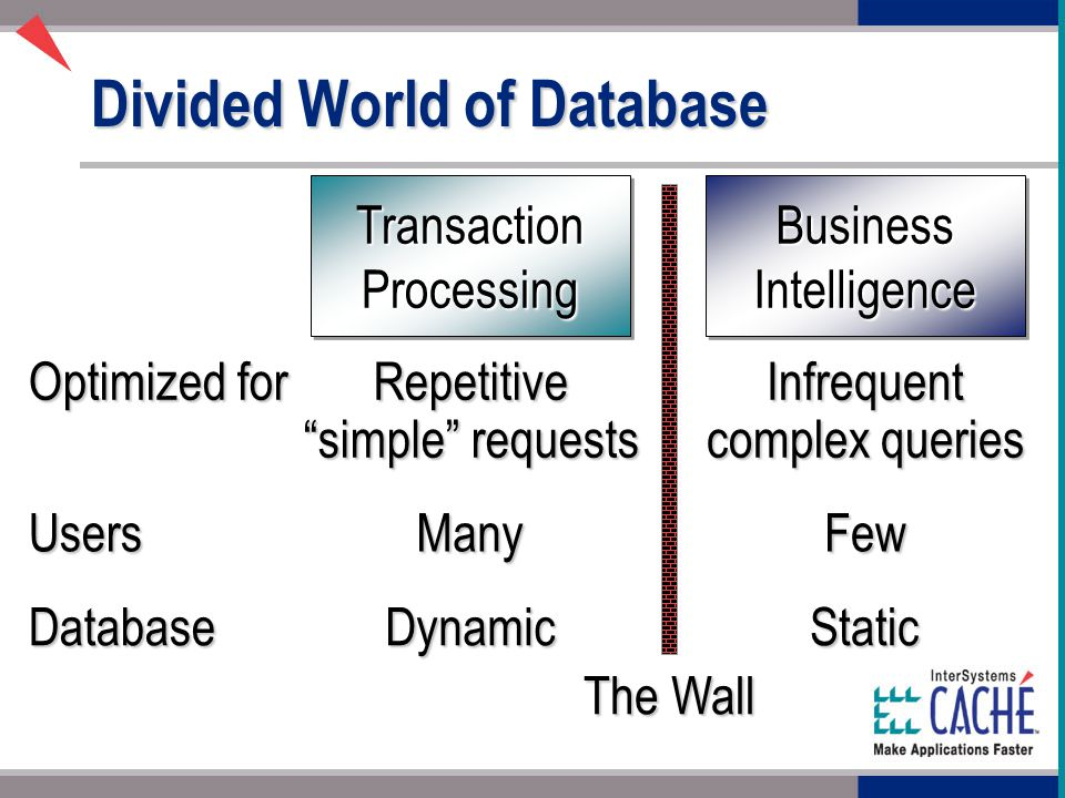 Divided World of Database Transaction Processing Business Intelligence Optimized for Repetitive simple requests Infrequent complex queries UsersManyFew DatabaseDynamicStatic The Wall