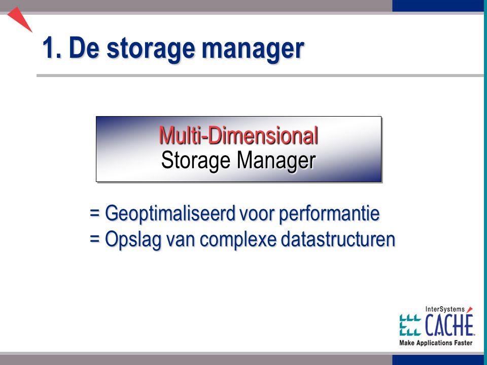 1. De storage manager Multi-Dimensional Storage Manager = Geoptimaliseerd voor performantie = Opslag van complexe datastructuren