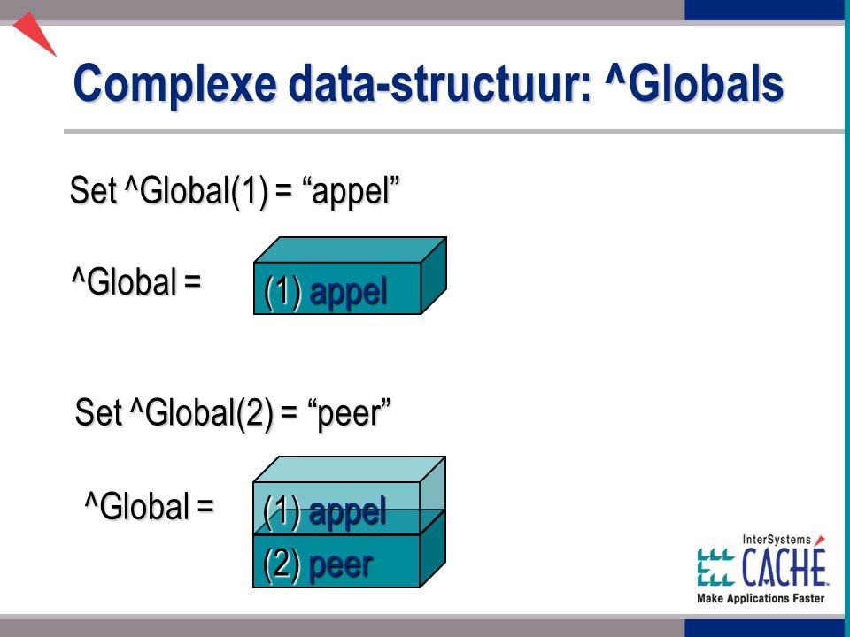 (2) peer Complexe data-structuur: ^Globals Set ^Global(1) = appel Set ^Global(2) = peer ^Global = (1) appel ^Global = (1) appel