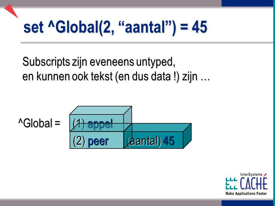 (aantal) 45 set ^Global(2, aantal ) = 45 Subscripts zijn eveneens untyped, en kunnen ook tekst (en dus data !) zijn … ^Global = (1) appel (2) peer