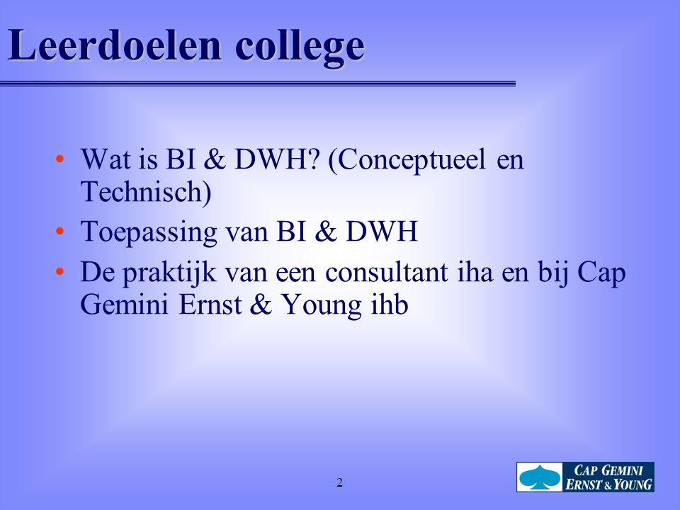 2 Leerdoelen college Wat is BI & DWH.