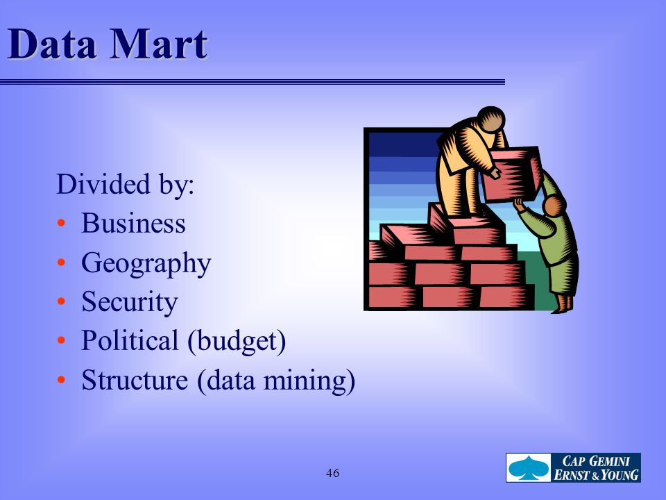 46 Data Mart Divided by: Business Geography Security Political (budget) Structure (data mining)