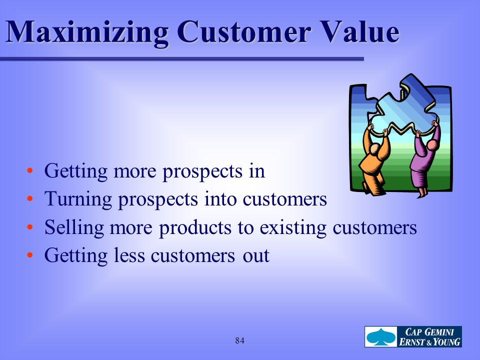 84 Maximizing Customer Value Getting more prospects in Turning prospects into customers Selling more products to existing customers Getting less custo