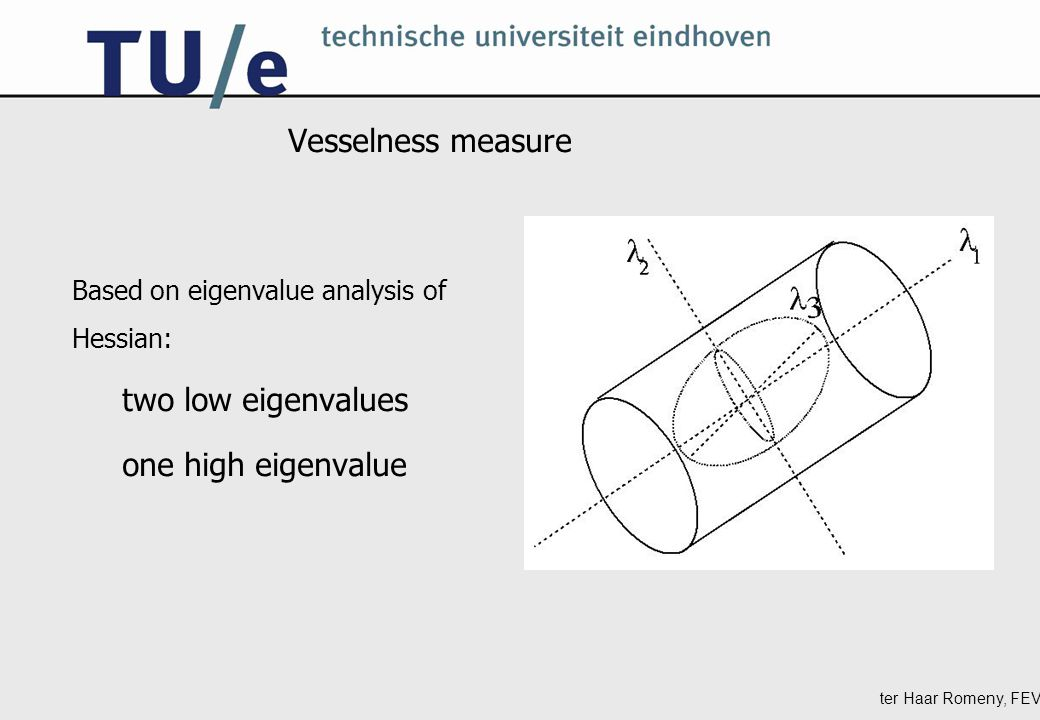 ter Haar Romeny, FEV Vesselness measure Based on eigenvalue analysis of Hessian: two low eigenvalues one high eigenvalue