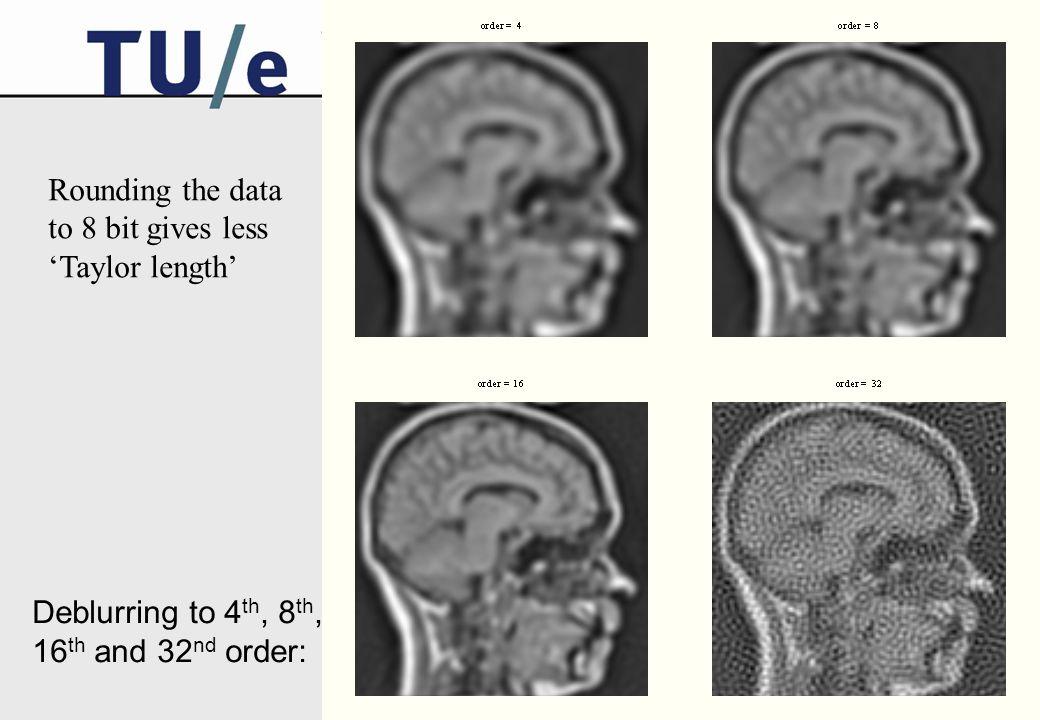 ter Haar Romeny, EMBS Berder 2004 Noise  =5 order = 4 order = 8 order = 16 Additive noise: