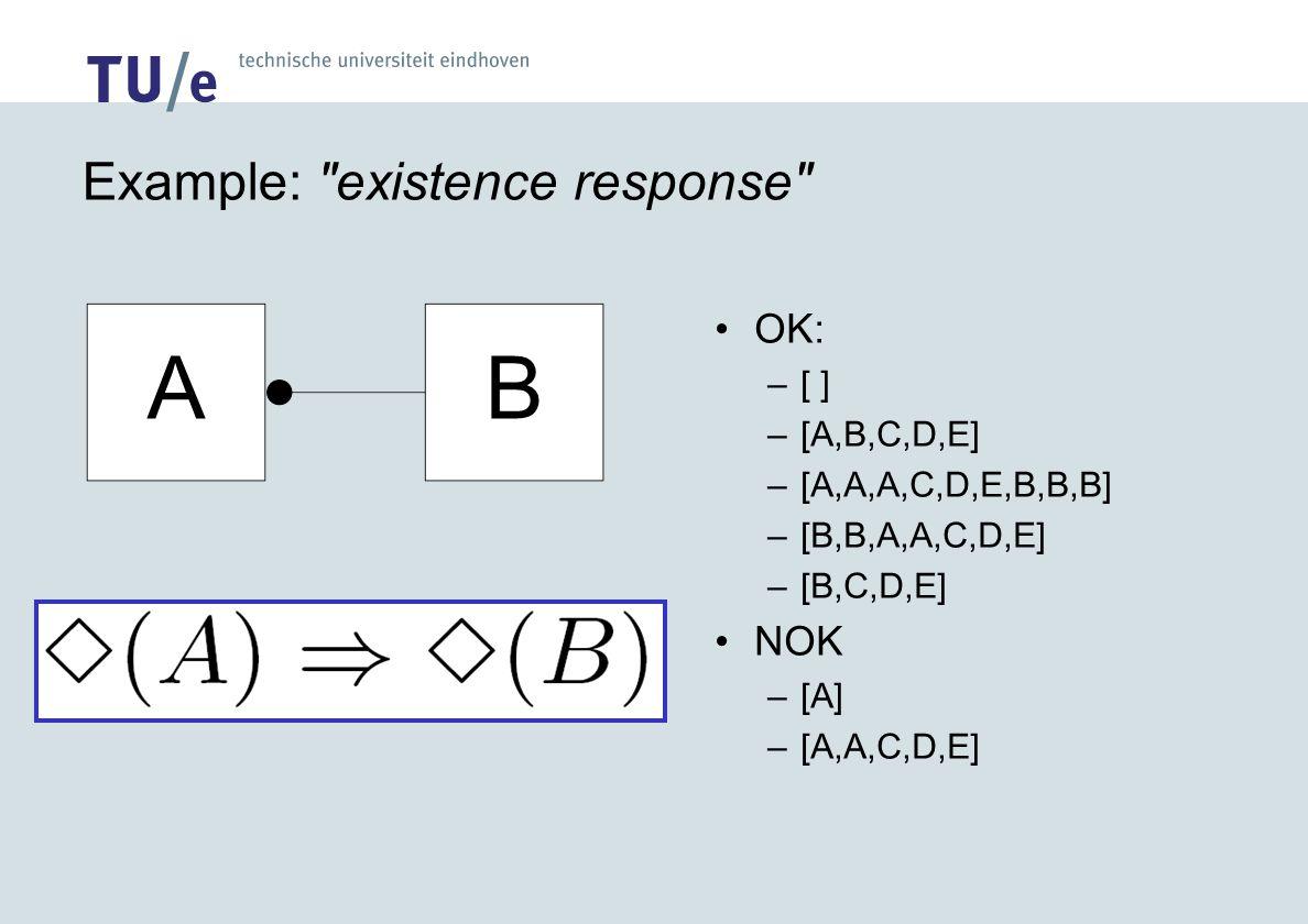 Example: existence response OK: –[ ] –[A,B,C,D,E] –[A,A,A,C,D,E,B,B,B] –[B,B,A,A,C,D,E] –[B,C,D,E] NOK –[A] –[A,A,C,D,E]