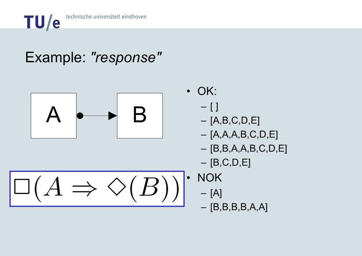 Example: response OK: –[ ] –[A,B,C,D,E] –[A,A,A,B,C,D,E] –[B,B,A,A,B,C,D,E] –[B,C,D,E] NOK –[A] –[B,B,B,B,A,A]