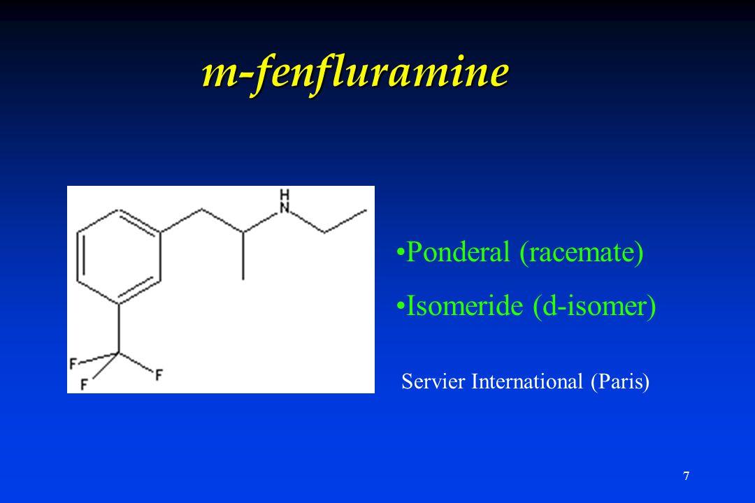 7 m-fenfluramine Ponderal (racemate) Isomeride (d-isomer) * Servier International (Paris)