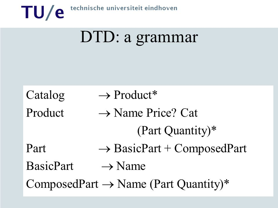 TU/e technische universiteit eindhoven DTD: a grammar Catalog  Product* Product  Name Price? Cat (Part Quantity)* Part  BasicPart + ComposedPart Ba