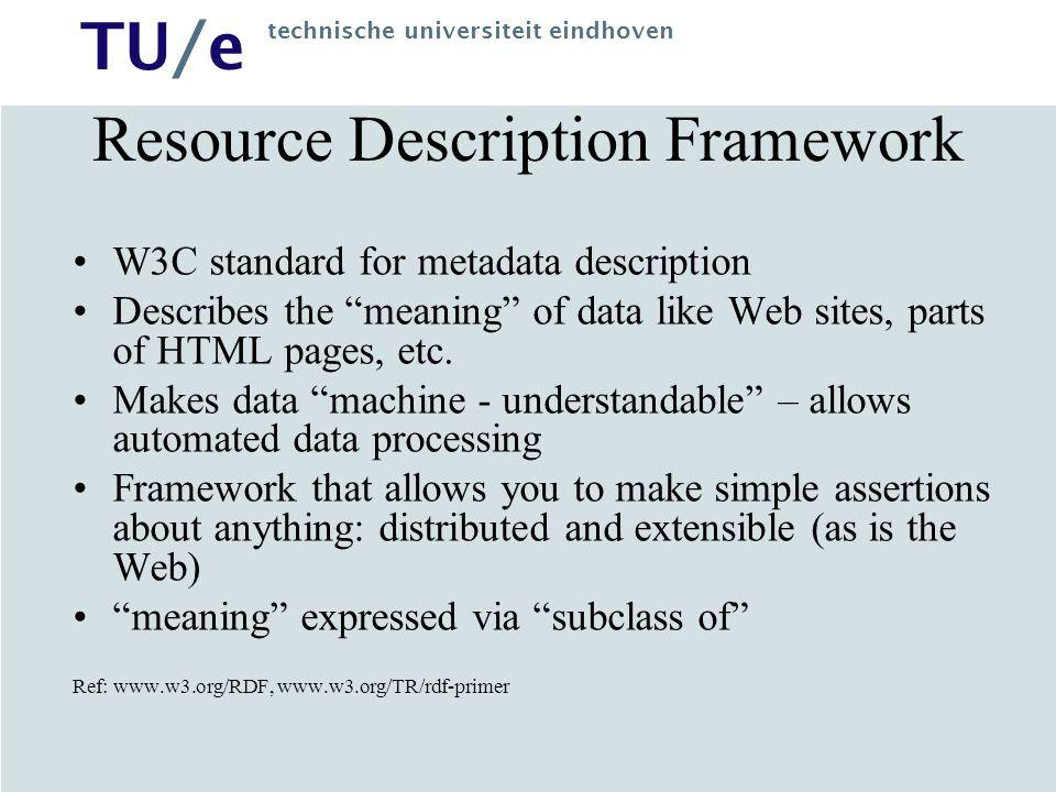 TU/e technische universiteit eindhoven Resource Description Framework W3C standard for metadata description Describes the meaning of data like Web sites, parts of HTML pages, etc.