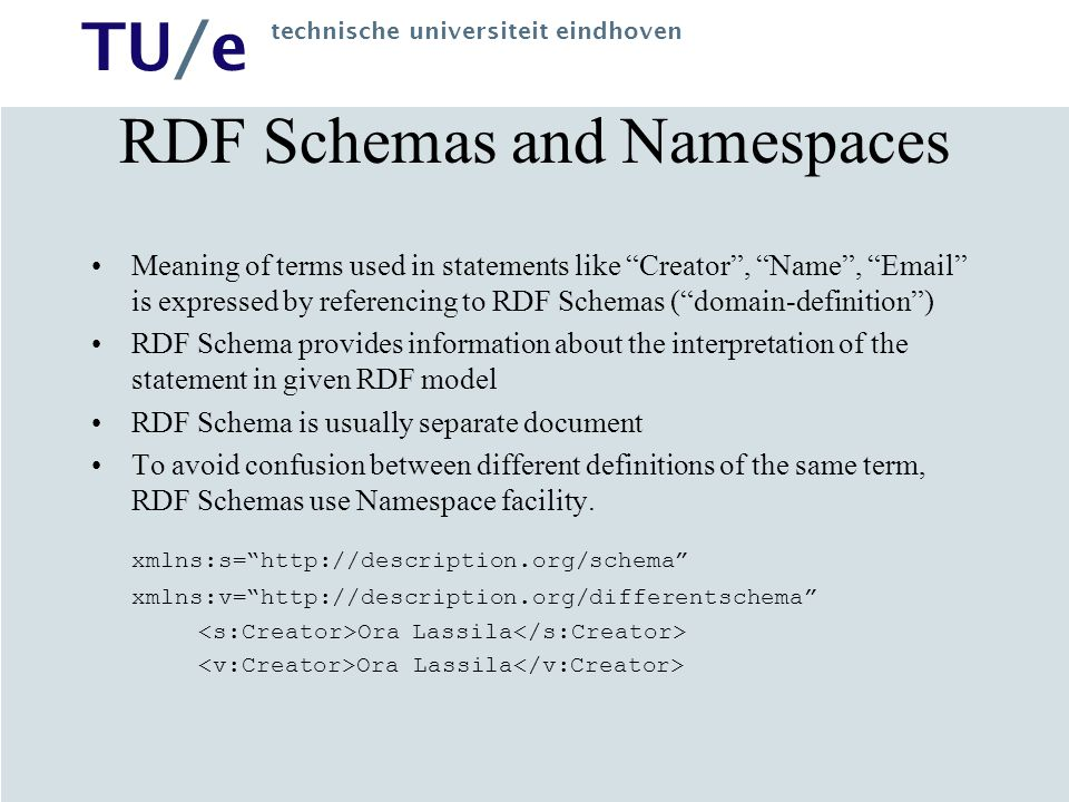 TU/e technische universiteit eindhoven RDF Schemas and Namespaces Meaning of terms used in statements like Creator , Name , Email is expressed by referencing to RDF Schemas ( domain-definition ) RDF Schema provides information about the interpretation of the statement in given RDF model RDF Schema is usually separate document To avoid confusion between different definitions of the same term, RDF Schemas use Namespace facility.