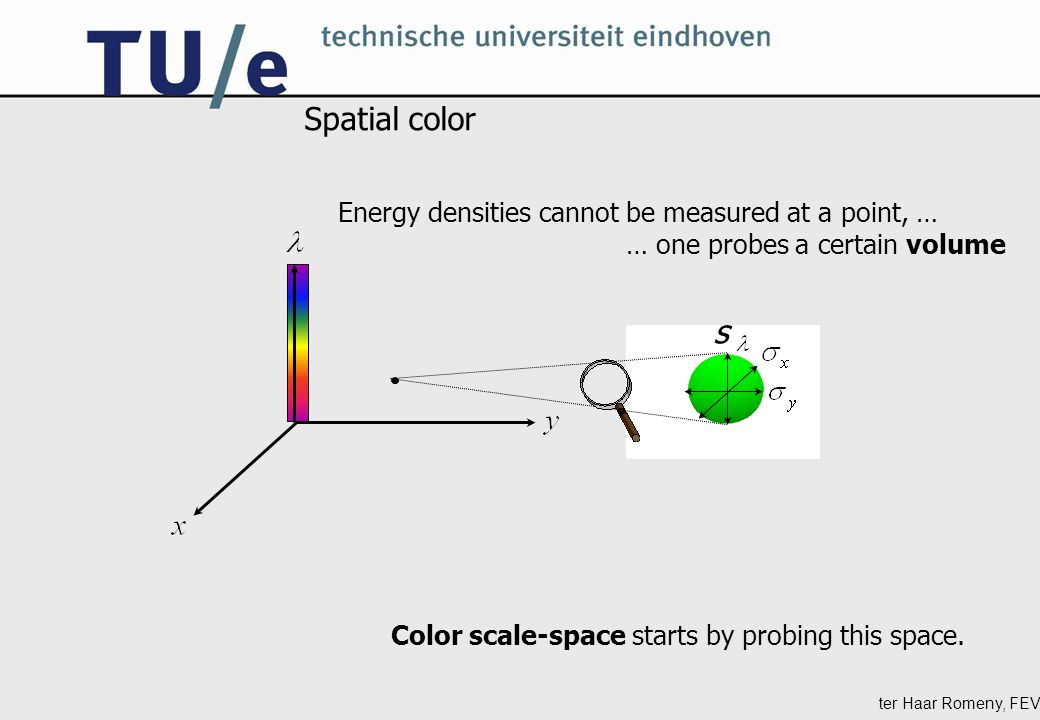 ter Haar Romeny, FEV Spatial color Color scale-space starts by probing this space.