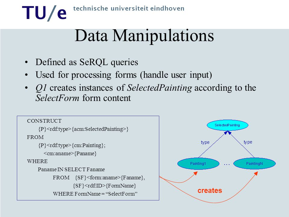 TU/e technische universiteit eindhoven Hera Implementation HPG 2.0 (Hera Presentation Generator, dynamic version) implemented in Java as a servlet Uses RDF API HP Jena for RDF data transformations based on RDFS models (CM, AM) Can use XForms processor Uses Sesame as main content repository and application context repository; uses SeRQL/RQL as query languages Set of graphical tools for designers for CM and AM based on Visio