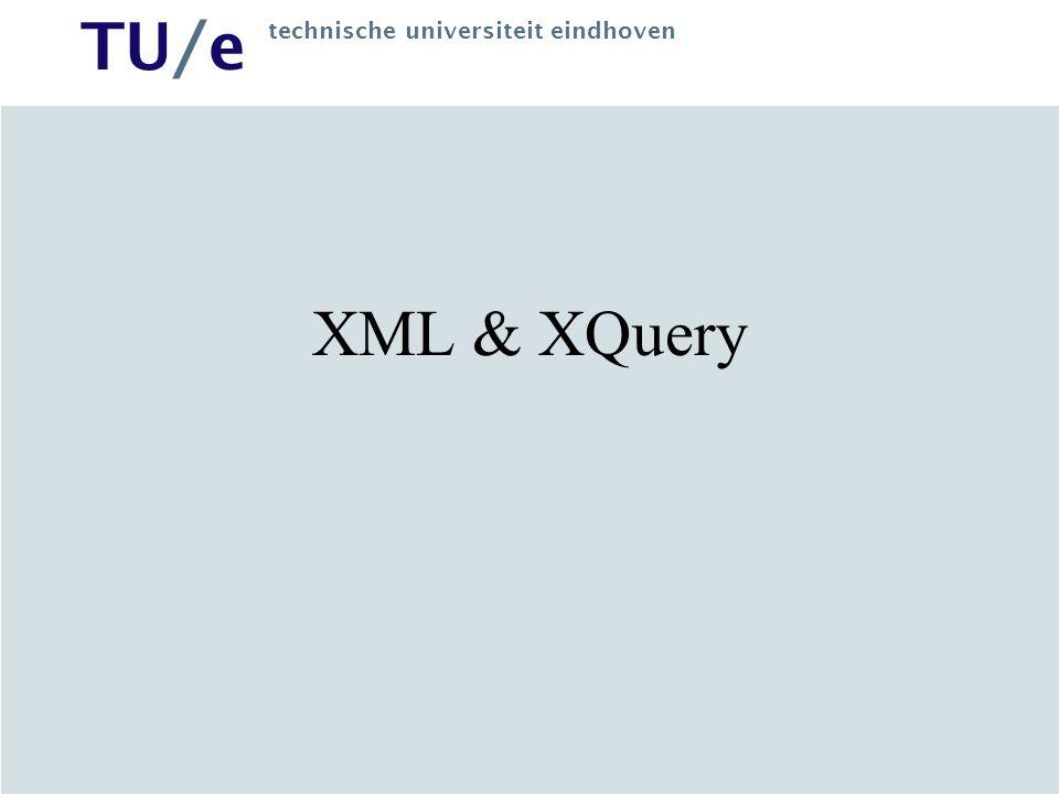 TU/e technische universiteit eindhoven HTML HTML = Hypertext Language Ref Name Price X23 Camera 359.99 R2D2 Robot 19350.00 Z25 PC 1299.99 Information System Text + presentation Where is the data .