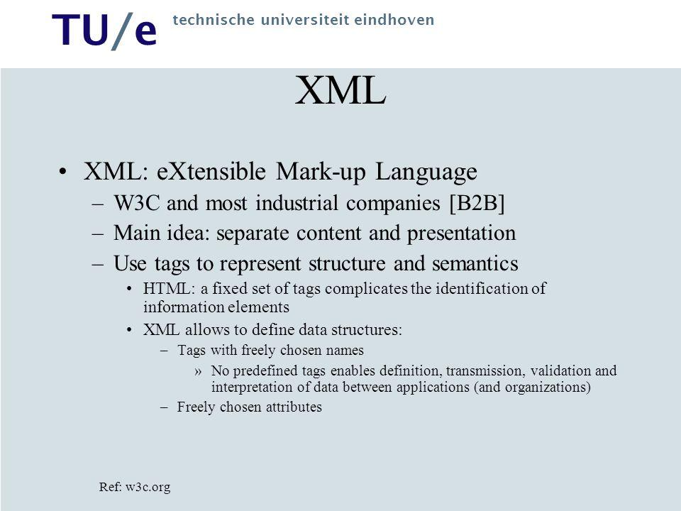 TU/e technische universiteit eindhoven XML XML: eXtensible Mark-up Language –W3C and most industrial companies [B2B] –Main idea: separate content and