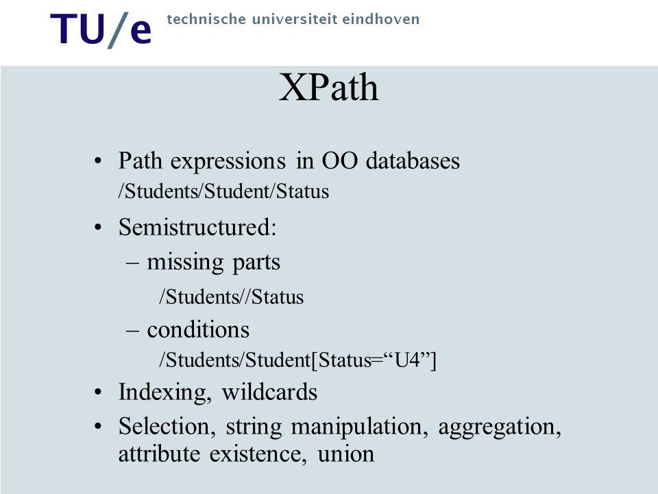 TU/e technische universiteit eindhoven XSLT XSL: XML Stylesheet Language –(XSLT: XSL Transformations) declarative language for transforming XML documents using an XSLT processor