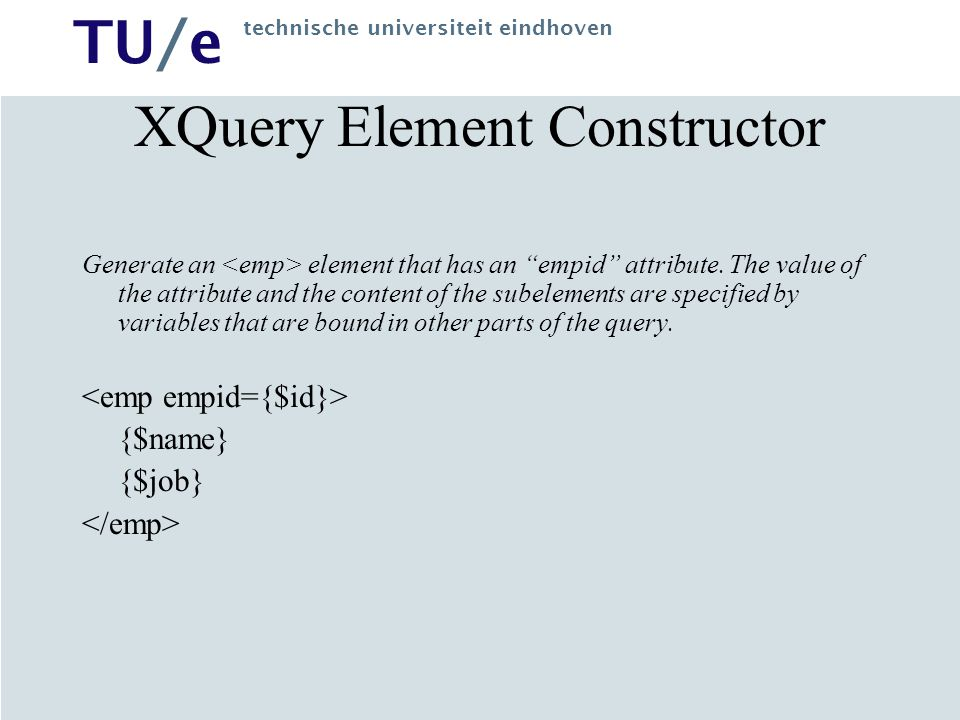 TU/e technische universiteit eindhoven XQuery FLWR Expression List each publisher and the average price of its books.