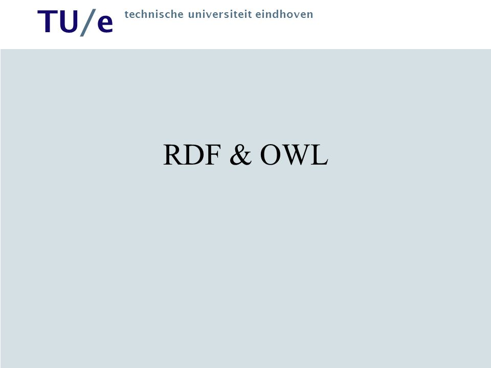 TU/e technische universiteit eindhoven Web Data Integration WIS repository (back-end) typically assembled from different heterogeneous sources, e.g.