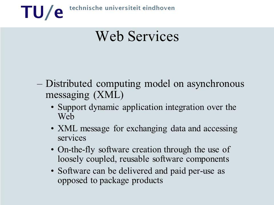 TU/e technische universiteit eindhoven Principles XML Message Exchange –Message Transport XML Namespaces (URI) HTTP –Message Nature Request Result of a request Errors Web Service Application Client Web Service Web Service XML