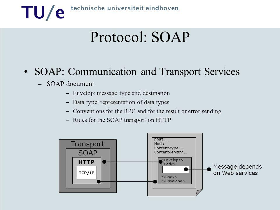 TU/e technische universiteit eindhoven Protocol: SOAP SOAP: Communication and Transport Services –SOAP document –Envelop: message type and destination