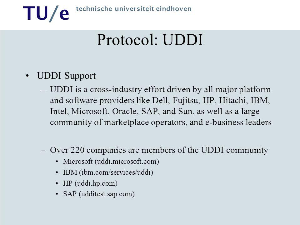 TU/e technische universiteit eindhoven Protocol: UDDI UDDI Support –UDDI is a cross-industry effort driven by all major platform and software provider