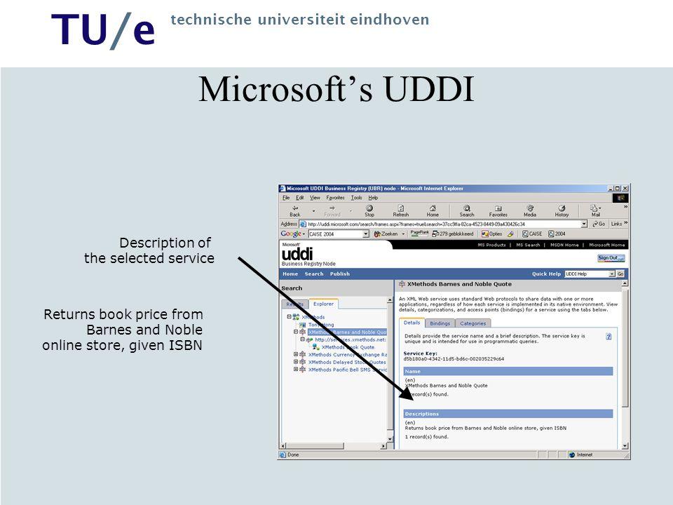 TU/e technische universiteit eindhoven Microsoft's UDDI WSDL Description of the Web service