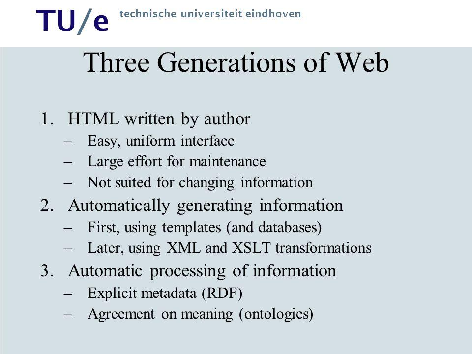TU/e technische universiteit eindhoven Three Generations of Web 1.HTML written by author –Easy, uniform interface –Large effort for maintenance –Not s