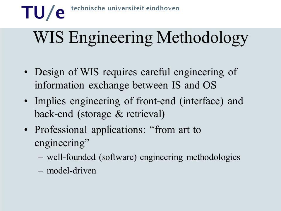 TU/e technische universiteit eindhoven WIS Engineering Methodology Design of WIS requires careful engineering of information exchange between IS and O