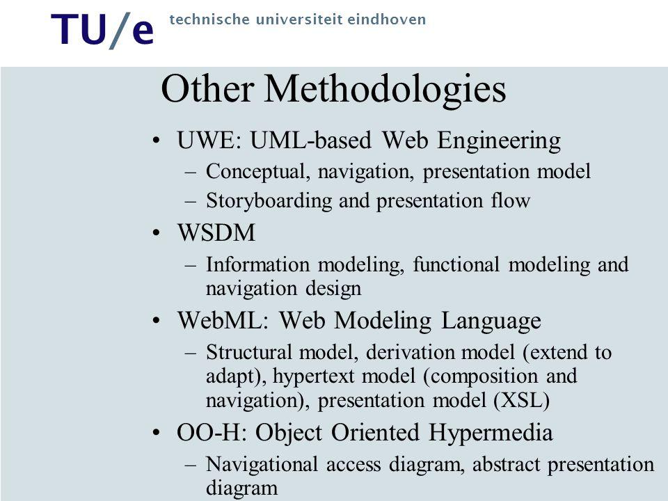 TU/e technische universiteit eindhoven Other Methodologies UWE: UML-based Web Engineering –Conceptual, navigation, presentation model –Storyboarding a