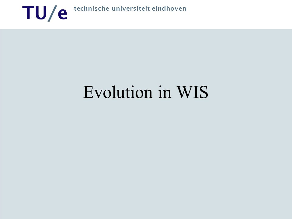 TU/e technische universiteit eindhoven Hypermedia Hypertext + multimedia Information objects (text, images, animations, audio, video) Not possible to show everything at once: –Layout –Timing –Navigation Design (generate) presentation for WWW, WAP, PDA's, etc.