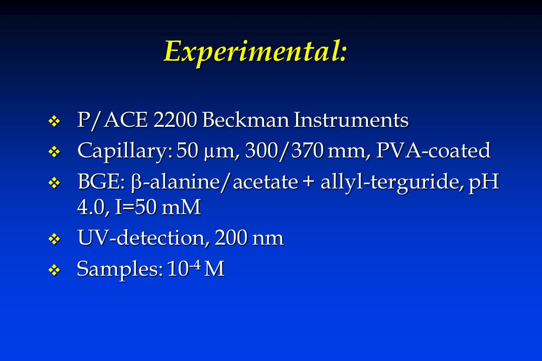 Experimental: v P/ACE 2200 Beckman Instruments v Capillary: 50 µm, 300/370 mm, PVA-coated  BGE:  -alanine/acetate + allyl-terguride, pH 4.0, I=50 mM