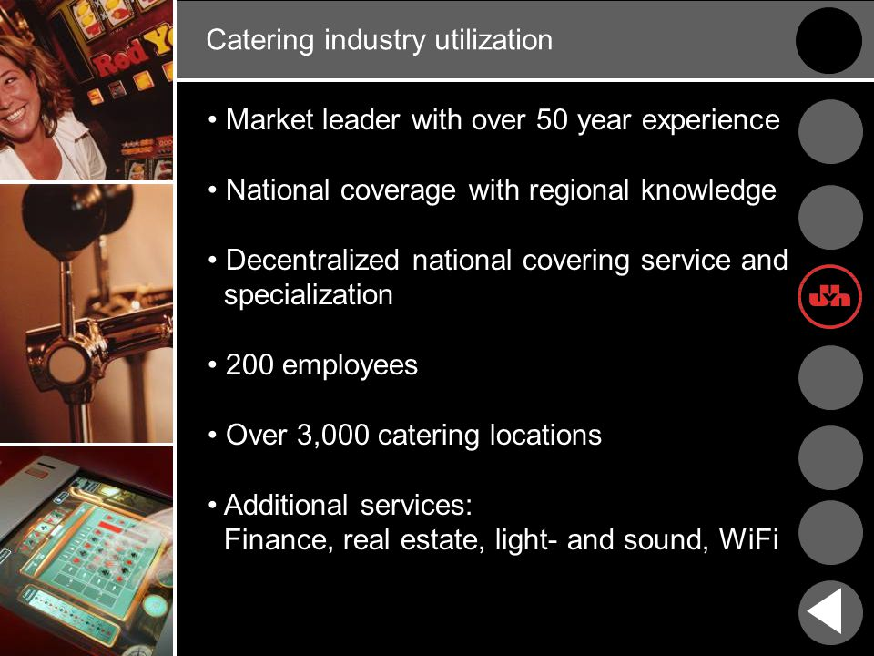 Catering industry utilization Market leader with over 50 year experience National coverage with regional knowledge Decentralized national covering service and specialization 200 employees Over 3,000 catering locations Additional services: Finance, real estate, light- and sound, WiFi
