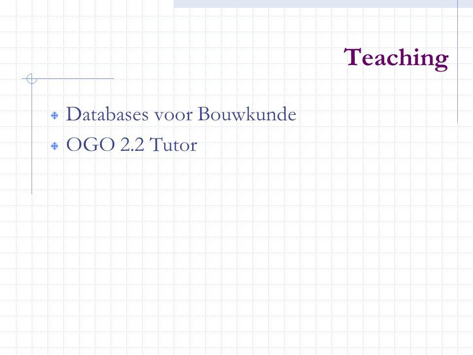 Teaching Databases voor Bouwkunde OGO 2.2 Tutor