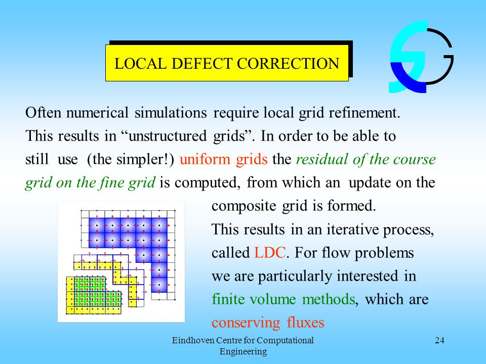 Eindhoven Centre for Computational Engineering 24 LOCAL DEFECT CORRECTION Often numerical simulations require local grid refinement.