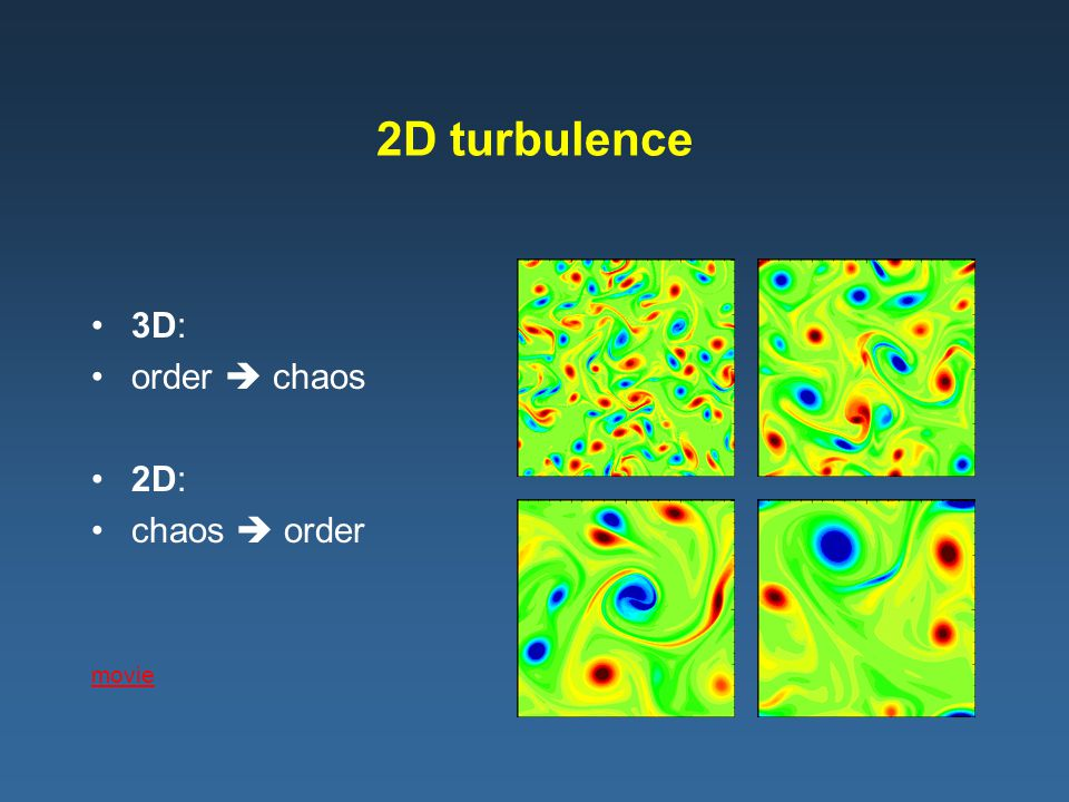 2D turbulence 3D: order  chaos 2D: chaos  order movie